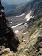 Looking down Superstar Couloir. It's even steeper with snow in it!