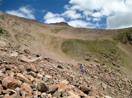 A view back up the tallus toward Red Peak. It looks like a much better idea from the top than from down here.