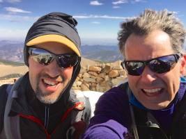 A brief, windy summit photo.