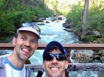 Mile 67: Jason and I crossing the Footbridge. Guess who's been awake for 25 hours?