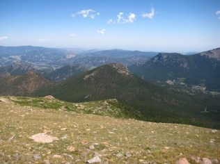 The heartbreaking view of the bushwhack descent separating Battle Mountain from Estes Cone