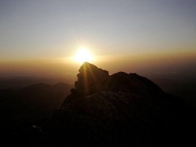 Sunrise over the summit of Mount Meeker.