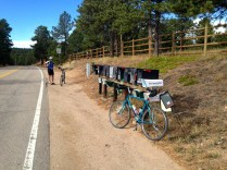 The storied mailboxes that mark the top of the Flagstaff climb. No turning back now!