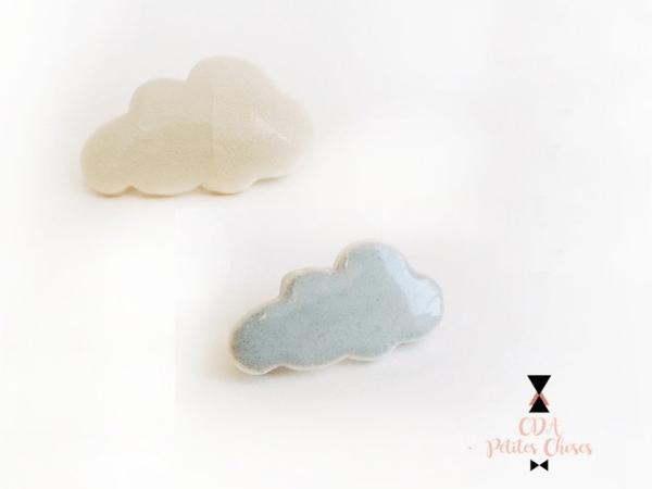 Broche en porcelaine nuage blanc ou gris