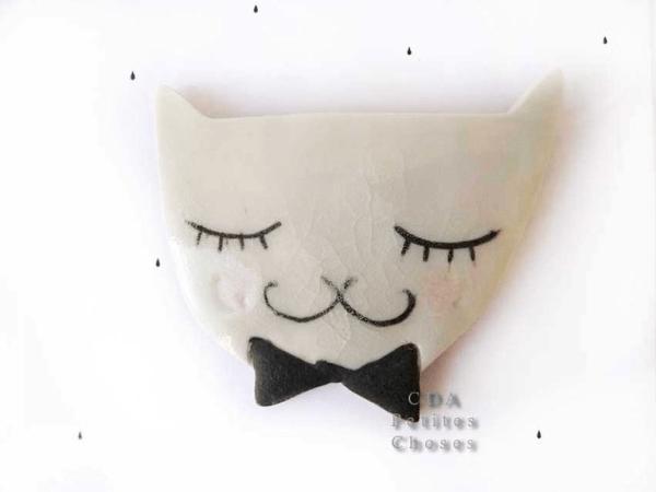Broche en porcelaine Mon joli chat