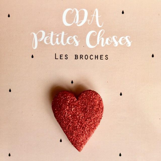 Broche en cuir mon joli coeur CDA Petites Choses