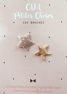 duo-broche-etoiles en porcelaine CDA Petites Choses