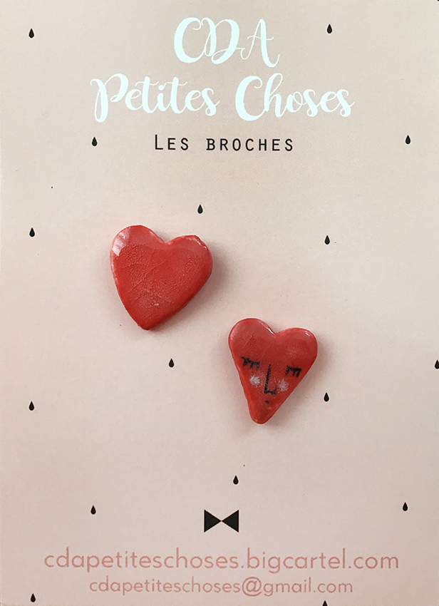 duo-broches-coeur en porcelaine CDA petites Choses