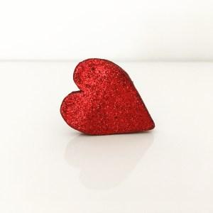broche en cuir coeur paillettes rouge CDA Petites Choses