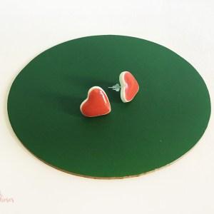 Puce d oreille en porcelaine cœur rouge CDA Petites Choses