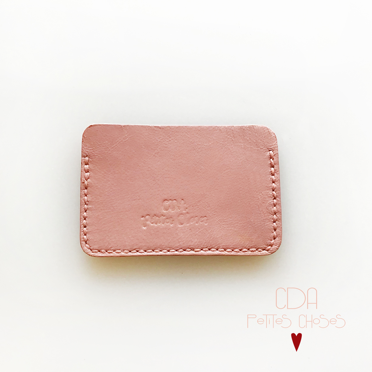 Porte carte en cuir vieux rose CDA Petites Choses