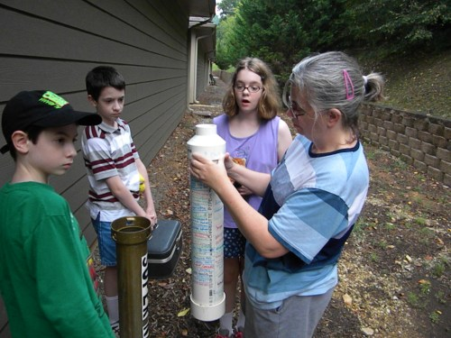 The Crew at Inspector Gadget Geocache, backward geocaching, geocaching in reverse