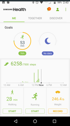 Samsung Health main screen, walking it off, weight