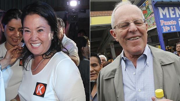 Keiko con 32% y PPK con 14% tras retiro de Guzmán y Acuña
