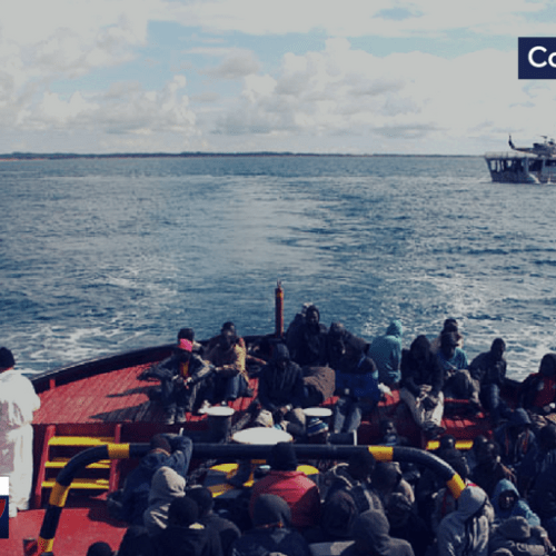 """Weather conditions postpones arrival of 937 people on board the """"Diciotti"""" Coast Guard in Catania (Italy), after being saved in the Mediterranean"""