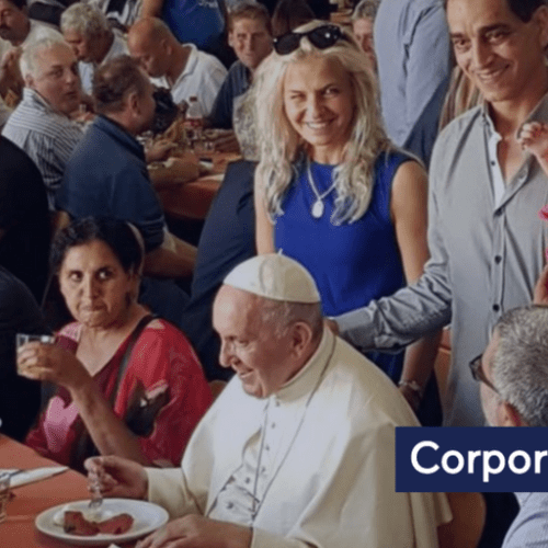Pope Francis invites 250 poor for lunch
