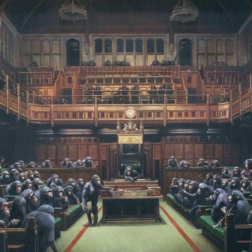 Bansky marks 'Brexit Day' through artwork named Devolved Parliament
