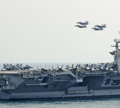Two US carrier strike groups in the Mediterranean sea for joint training