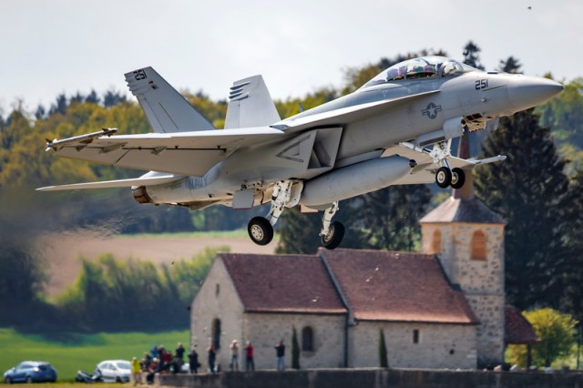 Fighter jet presentation at Swiss Army airbase in Payerne