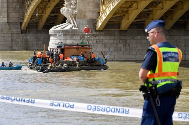Ship sinks in River Danube in Budapest