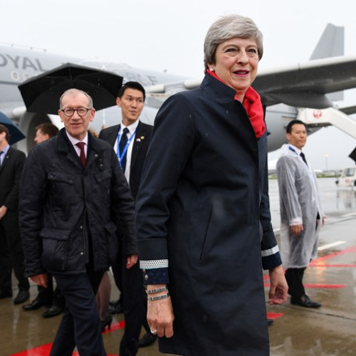 Theresa May arrives for her last G20 summit