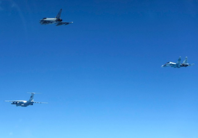 RAF Typhoons scramble to intercept Russian fighters as part of Baltic Air Policing Mission