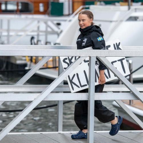 Activist Greta Thunberg arrives in New York