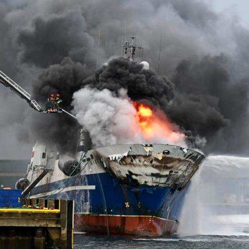 Photo Story: Russian trawler catches fire in Norway