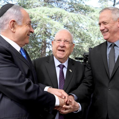 Photo Story: Ganz and Netanyahu meet at memorial service for late Israeli president Peres