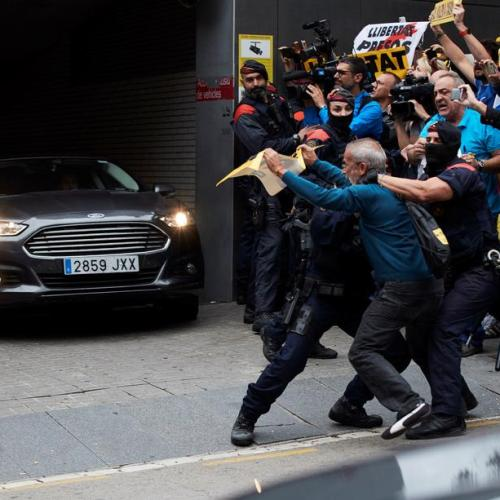 Incidents as Spanish PM visits policemen at hospital after riots in Barcelona
