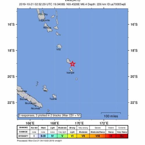 Earthquake of magnitude 6.4 strikes off Vanuatu