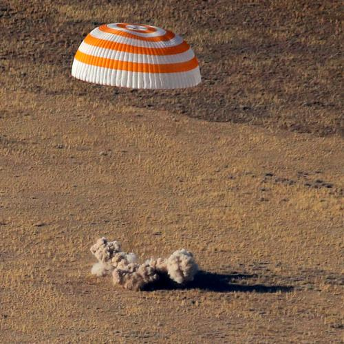 Soyuz MS-12 space capsule lands in Kazakhstan
