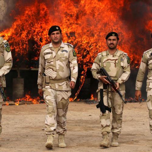 Photo story: Pakistani authorities burn smuggled narcotics in Peshawar
