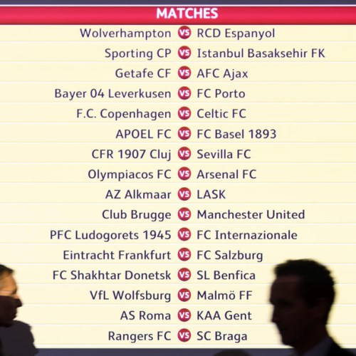 UEFA Europa League 2019/20 round of 32 draw