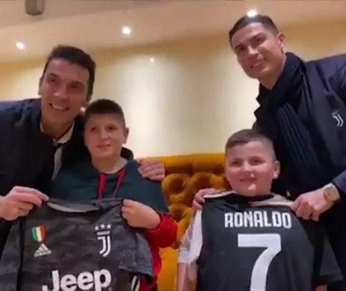 Buffon and Ronaldo meet two kids affected by Albania's earthquake