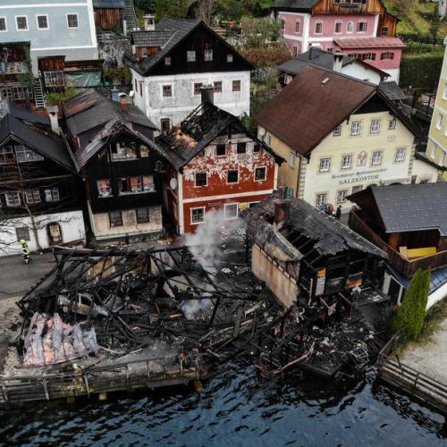 Large fire destroys part of world culture heritage city of Hallstatt in Austria