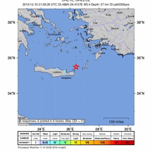Earthquake measuring 5.4 shakes Crete