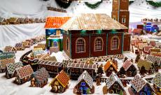 Christmas gingerbreads railway model in Gliwice