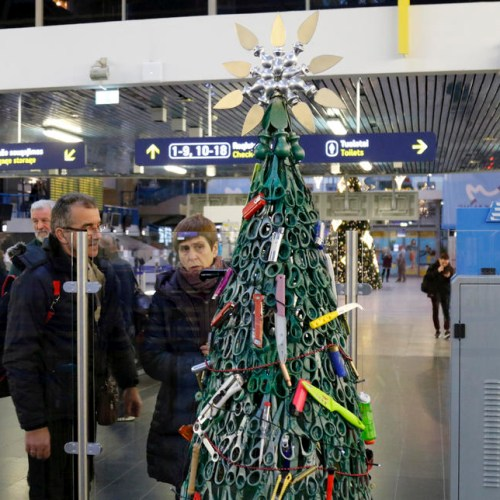An unusual Christmas Tree at Vilnius Airport in Lithuania