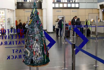 Unusual Christmas Tree at Vilnius Airport