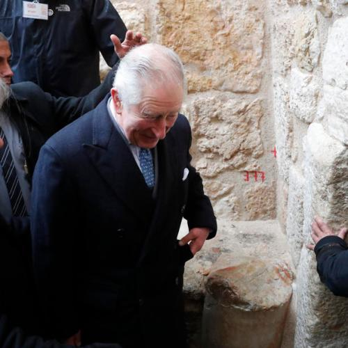 "Prince Charles called for ""a just and lasting peace"" in the Middle East in his visit to the Holy Land"