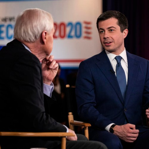 Buttigieg once more shows off his Maltese during Las Vegas town hall meeting