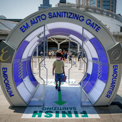Photo Story: Sanitizing Gate used to fight coronavirus outbreak in Thailand