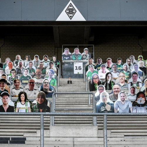 Cardboard cut-outs replace supporters at empty soccer stadium in Germany