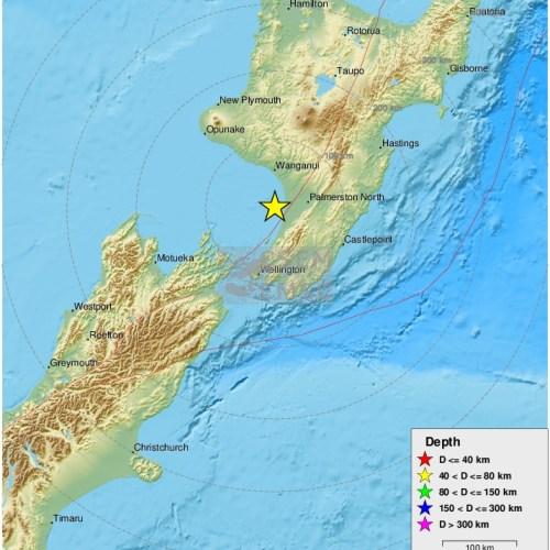 5.9 Magnitude Earthquake strikes near Wellington, New Zealand