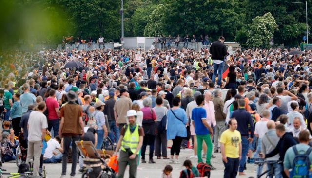 Demonstration 'Lateral thinking' against coronavirus restrictions in Stuttgart
