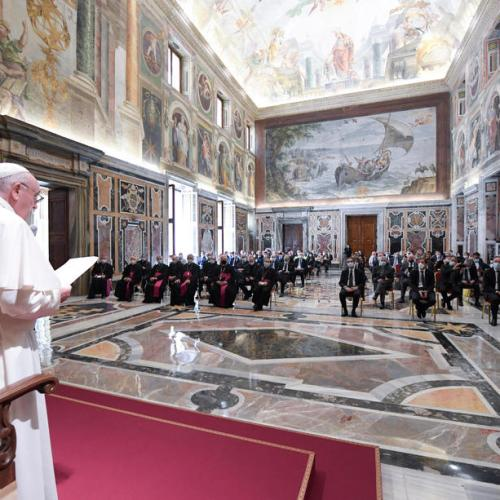 Pope Francis holds first audience after lockdown
