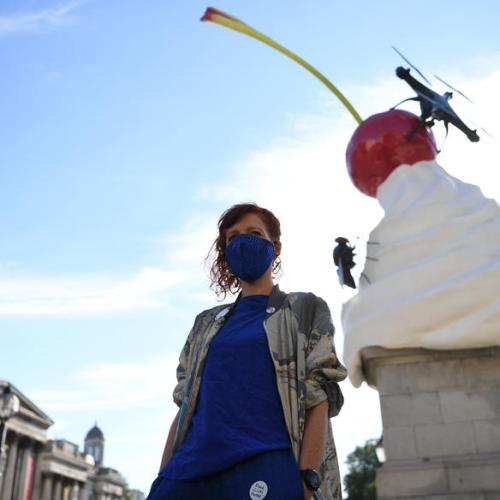 Heather Phillipson's Fourth Plinth artwork in Trafalgar Square unveiled