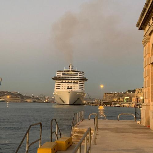 The MSC Grandiosa docks in Valletta Harbour