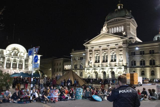 Swiss protesters occupy Bern square to protest inaction on climate